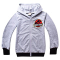 Boys Dinosaur's Spring Section Jurassic World Zipper Cardigan Embroidered Sweatshirts Grey for 2 to 13 Years Old Cotton