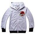 Meninos Primavera Seção do Mundo Jurássico Dinossauro Zipper Cardigan Bordado Camisolas Cinza para 2 a 13 Anos de Idade Algodão