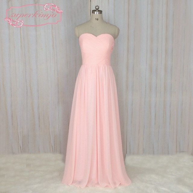 SuperKimJo Pale Pink Bridesmaid Dresses Long Chiffon Cheap Simple Wedding  Party Dresses Vestidos De Madrinha De Casamento 5d76d8bebf41