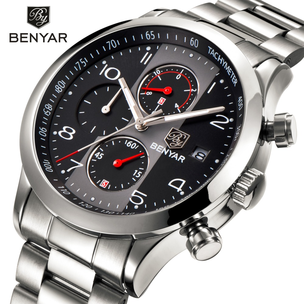 BENYAR Chronograph Quartz Mens Wristwatch Stainless Steel Band Male Clock Shockproof Waterproof Watch Men Relogio Masculino mens stainless steel band watch with big round dial male analog quartz metal sports wristwatch relogio masculino montre homme