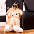 2017 Real fur monster keychain charms karlito raccoon keychains Fluffy perfect personality backpack PomPom bag pendant