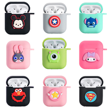 For airpods silicone cover case kawaii cute carton soft matte Silica gel rubber protection case for apple airpods keyring funda
