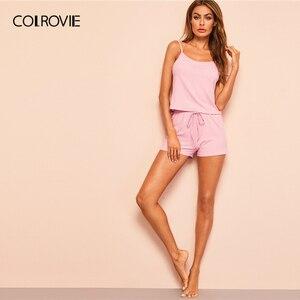 Image 4 - COLROVIE Pink Ribbed Cami Sexy Cami Pajamas Set 2019 Summer Female Top And Drawstring Shorts Women Sleeveless Sleepwear