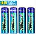 Envío gratis 4 unids/lote 3000mwh kentli 1.5 v aa batería recargable de li-batería de polímero de litio