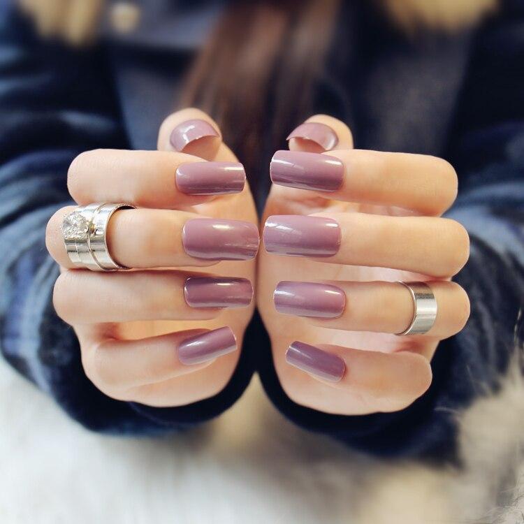 High fashion cream purple fake nails Japanese Cute elegant pure ...