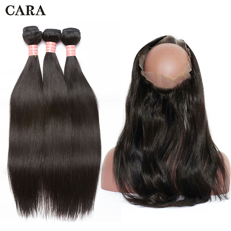 360 Lace Frontal With Bundle Peruvian Virgin Hair Extensions Pre Plucked Straight 360 Frontal With Bundles Cara Hair Products