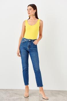 Trendyol темно-синие женские повседневные джинсы с высокой талией TWOAW20JE0009