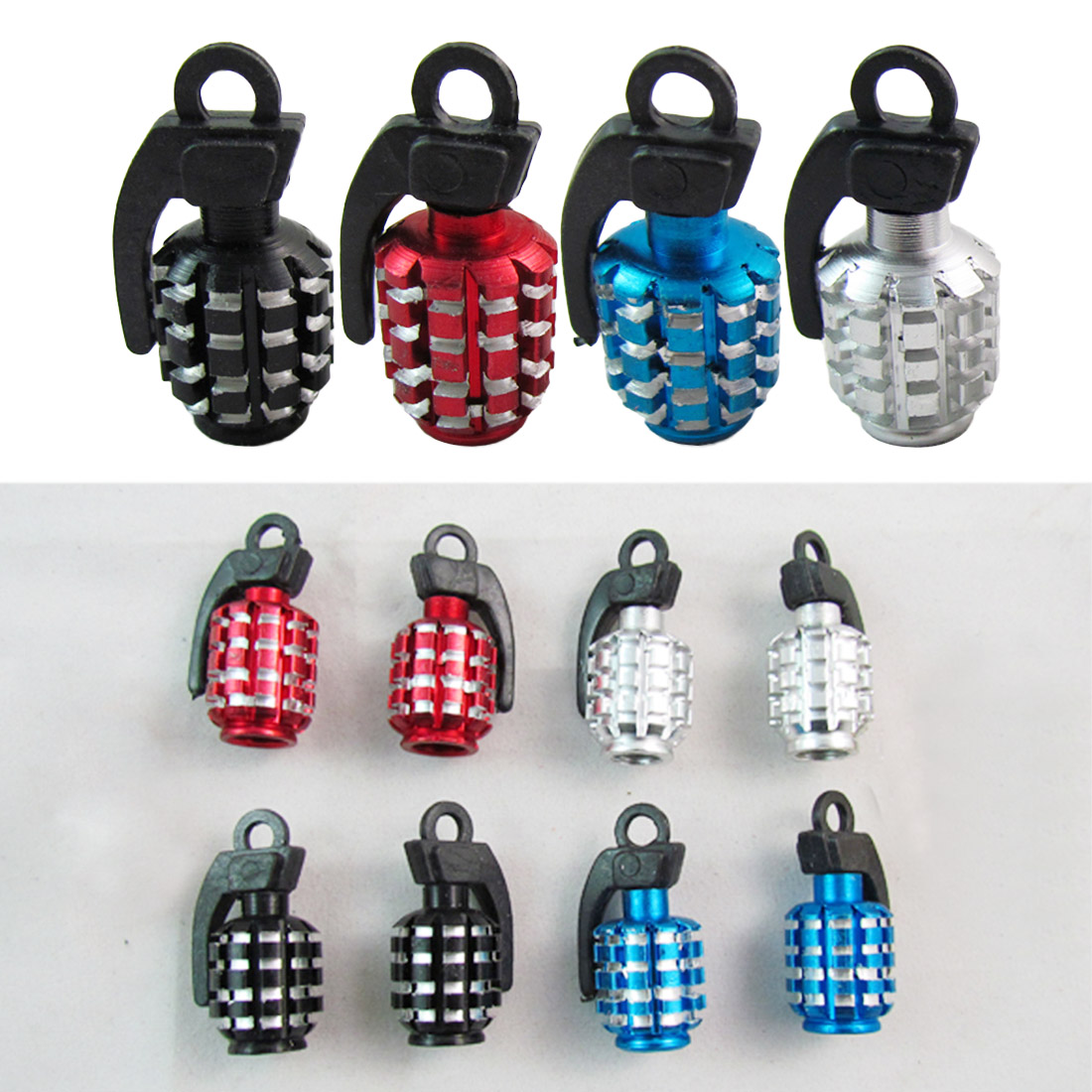 4pcs Funny Grenades Theftproof Aluminum Bicycle Car Wheel Tires Valves Tyre Stem Air Caps Airtight Cover Hot Selling