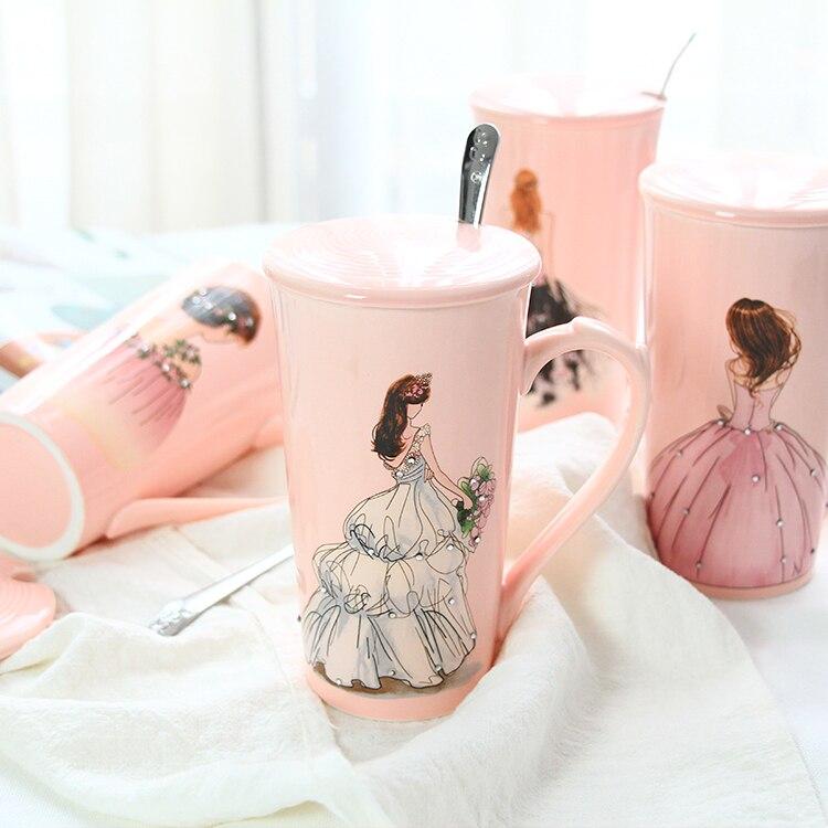 3pcs 3D Pink Beautiful Girls in Diamond Wedding Dress Coffee Mug with Spoon Lid Water Tea Milk Cup Creative Gift