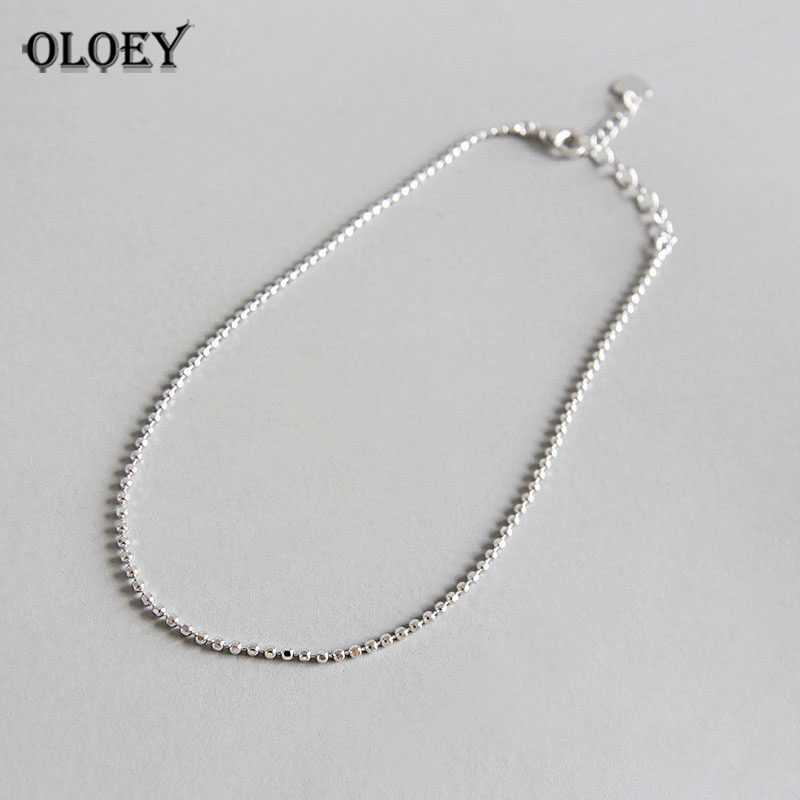 OLOEY Simple Beads Anklets for Women Girls 100% Real 925 Sterling Silver Foot Bracelet Anklet Fine Jewelry Drop Shipping YMA022