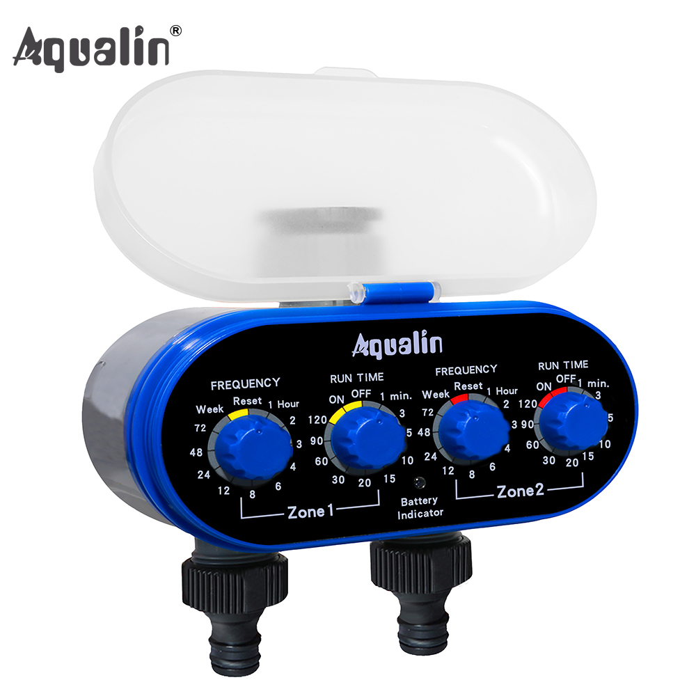 Ball Valve Electronic Automatic Watering Two Outlet Four Dials  Water Timer Garden Irrigation Controller For Garden, Yard #21032(China)
