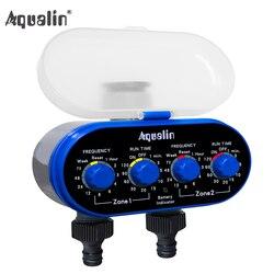 Válvula de esfera automático eletrônico rega dois tomada quatro mostradores temporizador água controlador irrigação jardim para jardim, quintal #21032