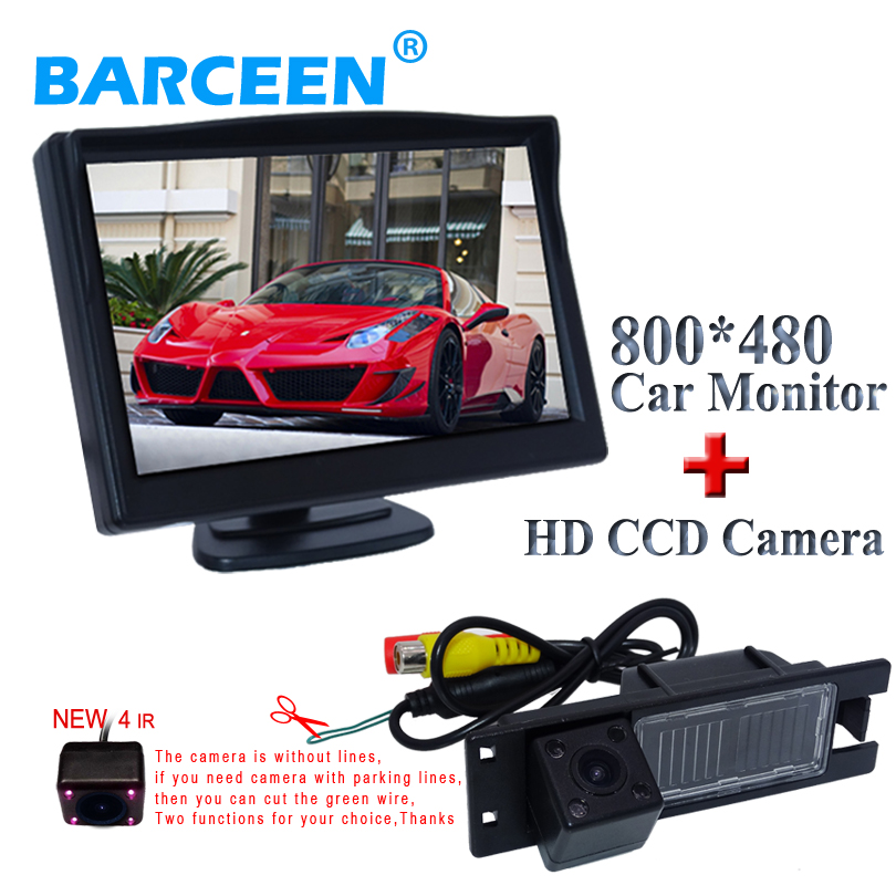 5 car monitor +car rear reversing camera black shell+ glass lens for Opel Astra H /Corsa D/ Meriva A /Vectra C/Zafira B/FIAT ynd led rear license plate light for vauxhall opel corsa c d astra h j zafira b