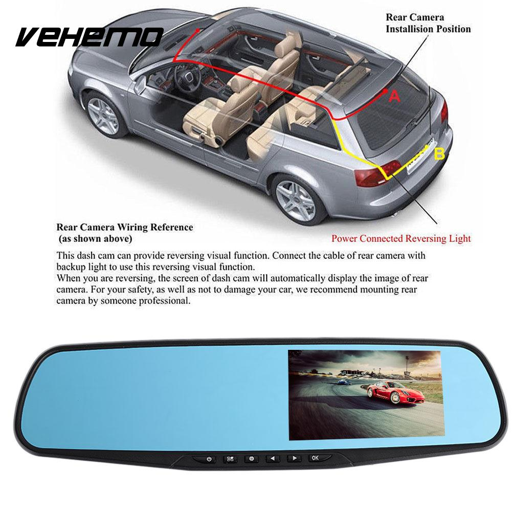 VEHEMO 4.3 1080P Car DVR Dash Cam Reaview Mirror Camcorder Loop Recording Driving Recorder with Rearview Camera