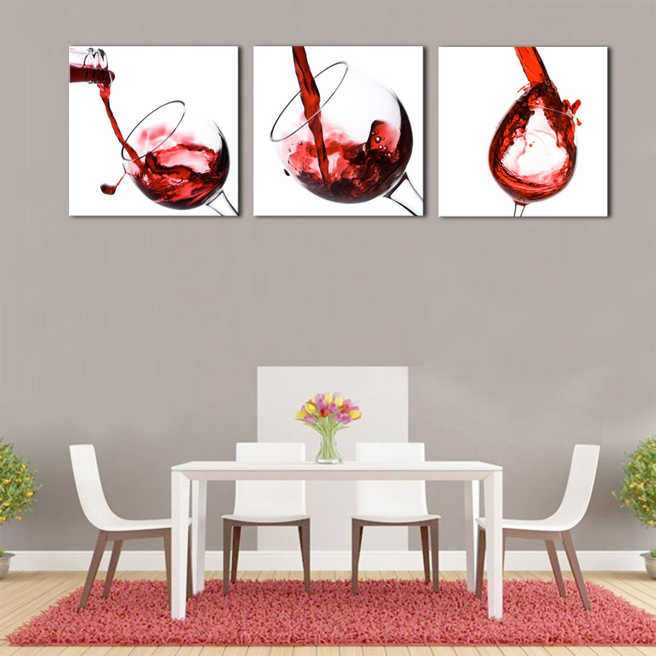 3 Pieces Art Painting Red Wine Glass Prints On Canvas Decorative Painting  Wall Art For Modern Home Decoration In Painting U0026 Calligraphy From Home U0026  Garden ...