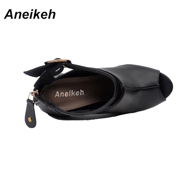 Aneikeh Gladiator Women Pumps Ladies Sexy Buckle Strap Roman High Heels Open Toe Sandals Party Wedding Shoes Size 35-40 Black  4