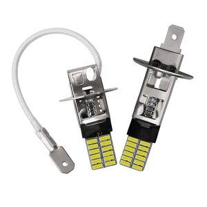 Image 3 - 2pcs 24led 4014 SMD H1 LED H3 LED Car LED Bulb Replacement Auto Fog Lamp Driving Daytime Running light White For DC 12V