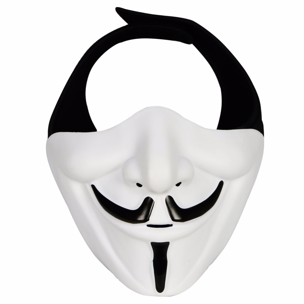 WosporT Tactical Airsoft Mask Paintball Accessories V Mask Smiling Hannya Halloween Masks For CS Shooting Cosplay Costume Party