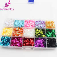Lucia crafts 5mm Mix Color Flake Rainbow Cup Sequin Flat Paillette For Clothing Dress Accssory DIY 1 box/lot D0310
