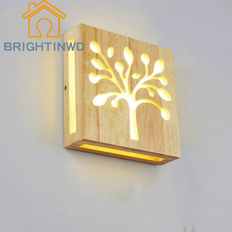 BRIGHTINWD Creative Solid Wood Happiness Tree Pattern Modern Simple Living Room Aisle Led Bedroom Bedside Lamp Wall Lamp цена 2017