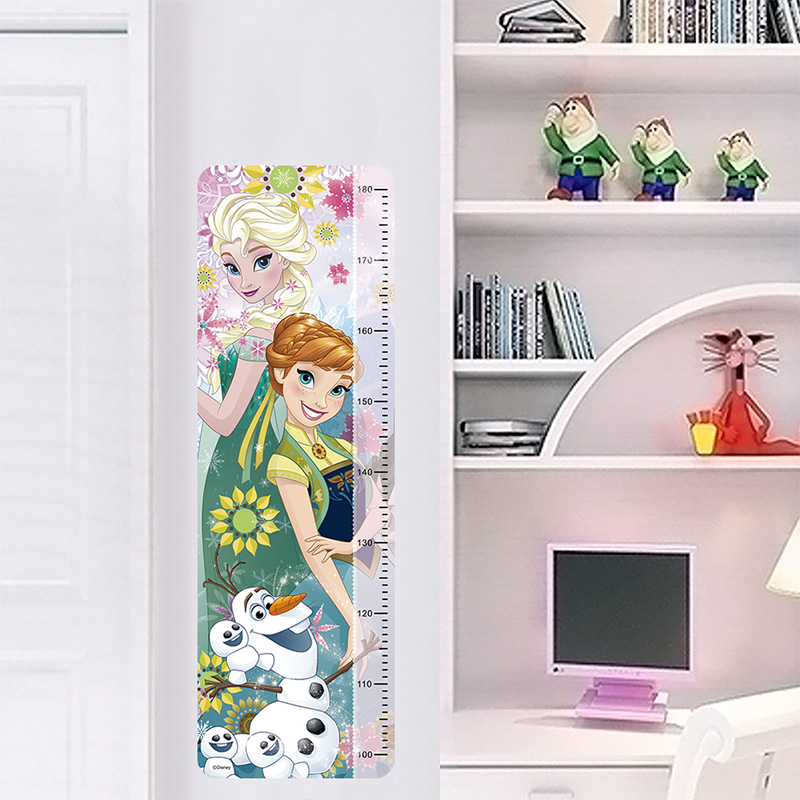 Disney Grow Olaf Anna Elsa Wall Sticker For Kids Room Home Decoration Anime Movie Frozen Mural Art Height Measure Ruler Decal in Wall Stickers from Home Garden
