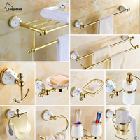 Diamond Stars Bathroom Accessories Sets Crystal Brass Gold Bathroom Hardware Sets Wall Mounted Ceramic Base Bathroom Products