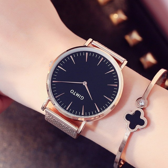2018 new gimto brand luxury women watches steel business quartz ladies watch clock fashion dress for Celebrity watches female 2018
