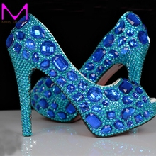 Peep Toe Blue Rhinestone Wedding Shoes Platform Diamond Bling High Heel Pumps Crystal Bride Handmade Party Prom Dress Heels
