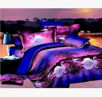 Bedclothes 3D Swan Lake 4PCS Bedding Set King Queen 1 PC Bed Sheet 1PC Comforter