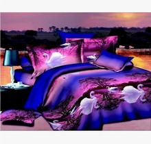 Bedclothes 3D Swan Lake 4PCS Bedding Set king/Queen 1 PC Bed sheet/1PC Comforter Cover/2 PCS Pillow Covers