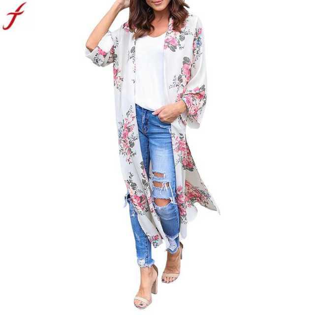 389959f0ba6ec FEITONG Women Summer Blouse 2018 Fashion Kimono Cardigan Chiffon Floral  Print Shirt Beachwear Kimono Cover Up Boho Cardigan Top