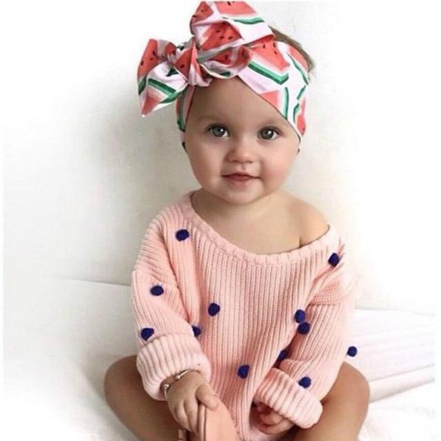 1pc Girls Diy Bow Knot Headband Fabric Cloth Lemon Fruit Printed