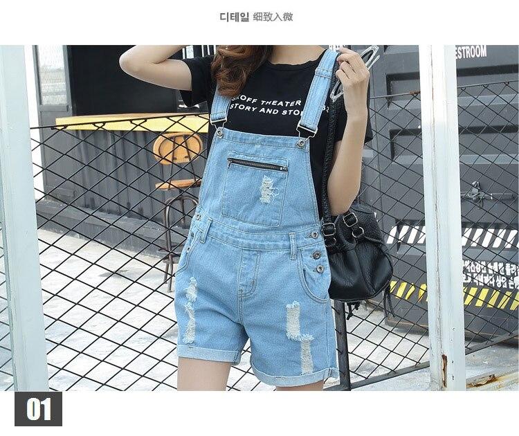 Women Overalls Jeans Feminino Bodysuit Holes Short Jumpsuits Summer Jumpsuit Vintage Denim Rompers Combinaison Shorts Femme W079