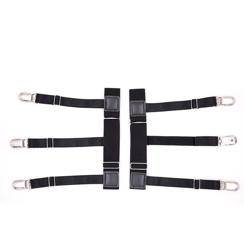 Mens Suspender Elastic Shirt Stays Garters Leg Suspenders Shirt Holder Straps Non-slip Locking Clamps 2pcs Tuck