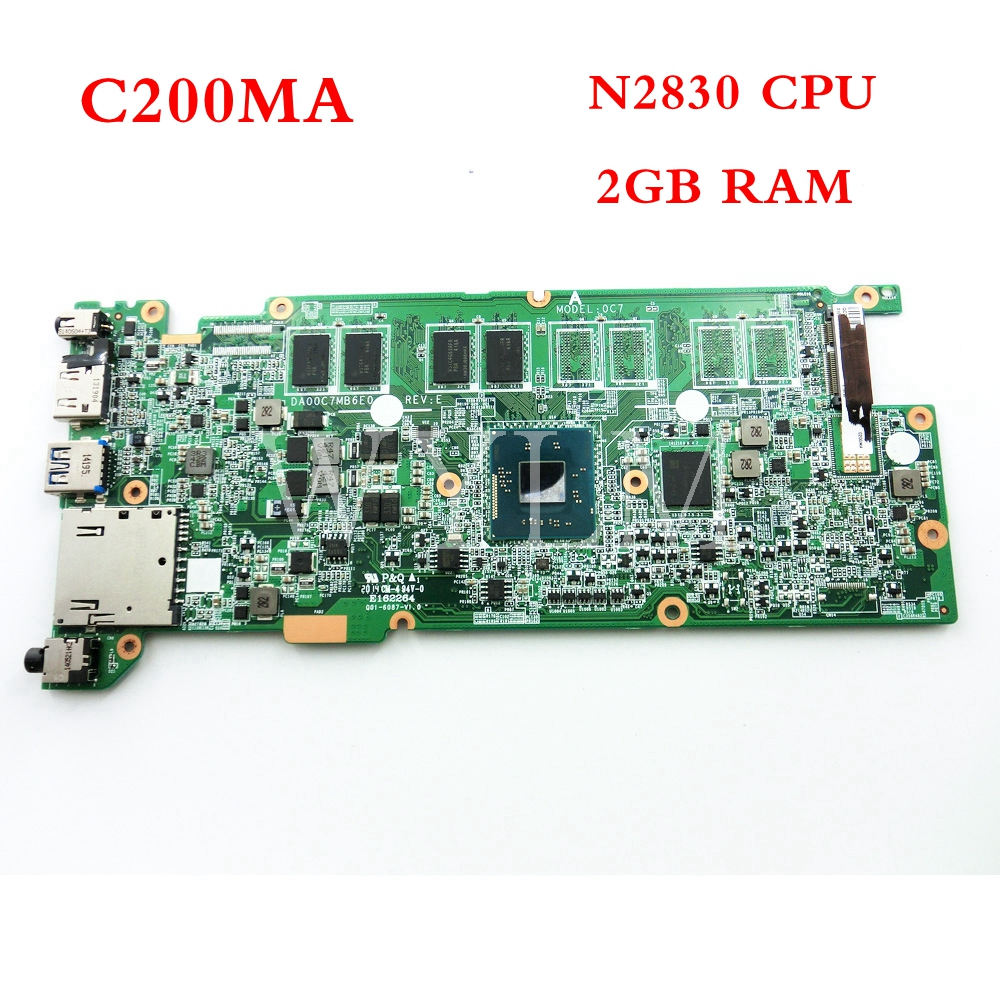 C200MA N2830 CPU 2GB RAM mainboard For ASUS C200M C200MA Laptop motherboard Tested Working 90NB05M0 R01000 free shipping