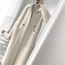 Frühling Herbst Frauen Graben Mantel Lange Weiß Warme Outwear Tasche drehen-unten Collarloose Weibliche Wolle Mantel Einzigen Taste Regenmantel