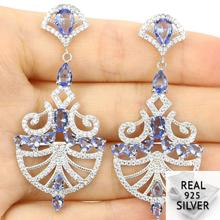 7.8g Real 925 Solid Sterling Silver Long Big Rich Blue Violet Tanzanite Womans Stud Earrings 54x24mm