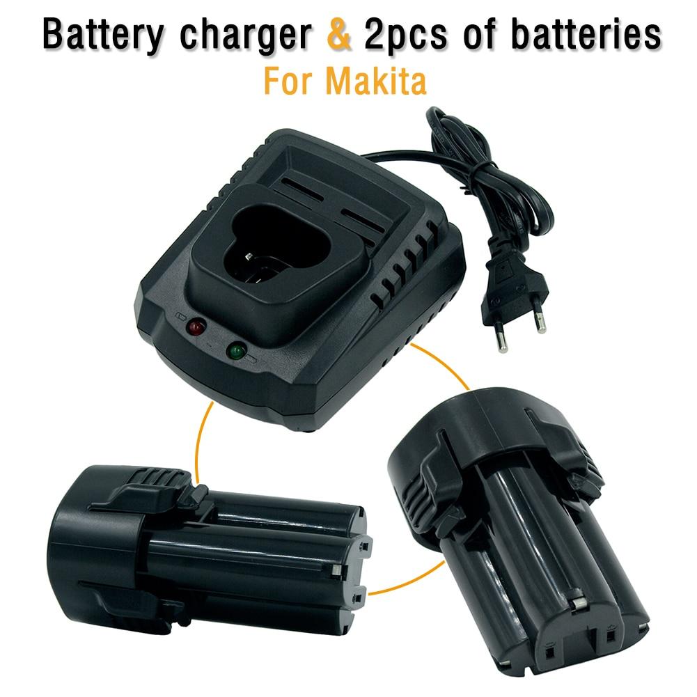 DC10WA chargeur EU Plug + 2 Pack 10.8 V 2000 mAH Li-ion batterie Rechargeable pour MAKITA BL1013 194550-6 194551-4