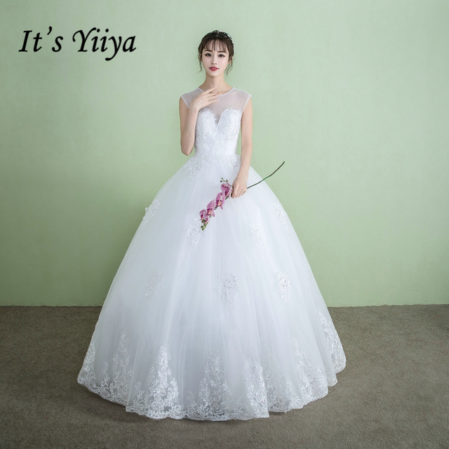 It\'s YiiYa Off White Sleeveless O Neck Wedding Dress Embroidery ...