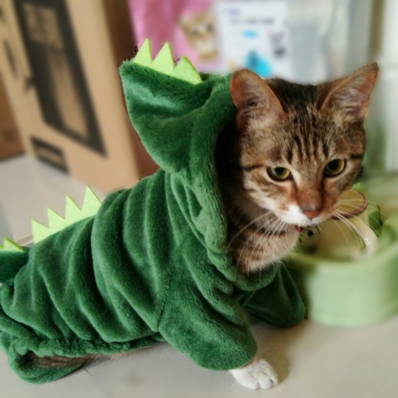 Funny Dinosaur Pet Cat Costume Halloween Cat Clothes For