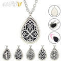 28mm magnetic 316L stainless steel teardrop essential oil diffusing necklace waterdrop perfume locket with free pads and chain