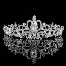 Tiaras de cristal de lujo para boda, corona de princesa, Reina, baile de graduación, velo de diamantes de imitación, diadema, accesorios para el cabello de boda