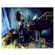 WONZOM Woman Play Piano Framed Lover DIY Painting By Numbers On Canvas And Calligraphy Wall Art For Home Decor 40x50CM