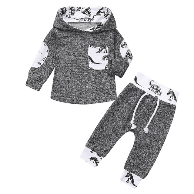 2018 Hot Sale Fashion Infant Baby Boys Girls Dinosaur Print Hoodie Pullover Tops+Pants Outfits Set Christmas Clothing Gift Sets