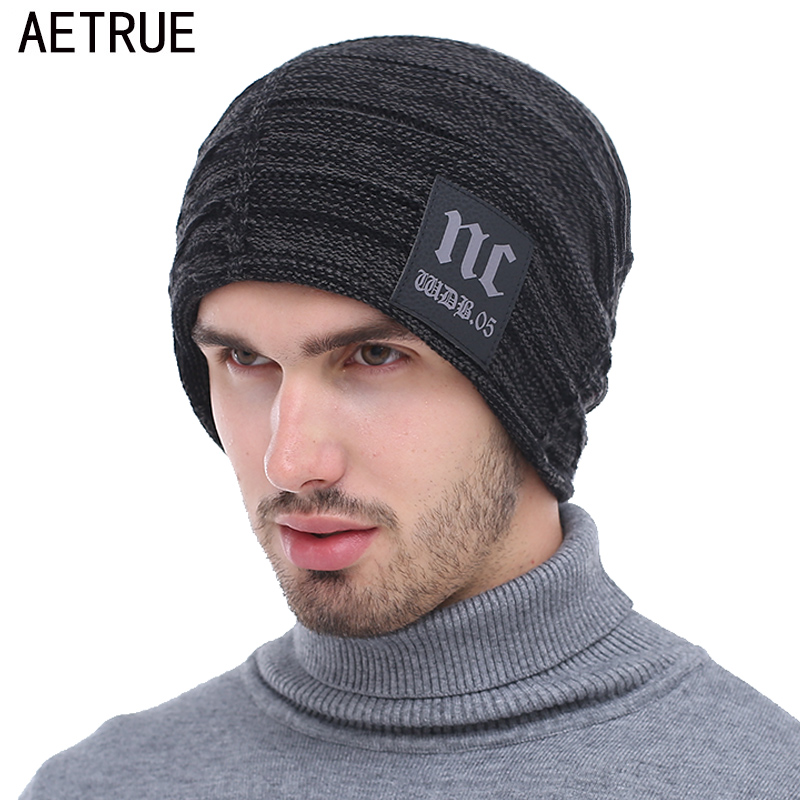 AETRUE Brand Knitted Hat Winter Beanies Men Caps Mask Gorras Bonnet Warm Baggy Winter Hats For Men Women Skullies Beanies Hats