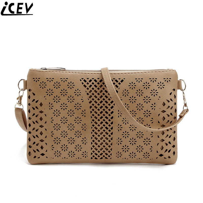 ICEV 2018 summer new fashion hollow women envelope small shoulder bag ladies pu leather cross body clutch long purse and handbag new punk fashion metal tassel pu leather folding envelope bag clutch bag ladies shoulder bag purse crossbody messenger bag