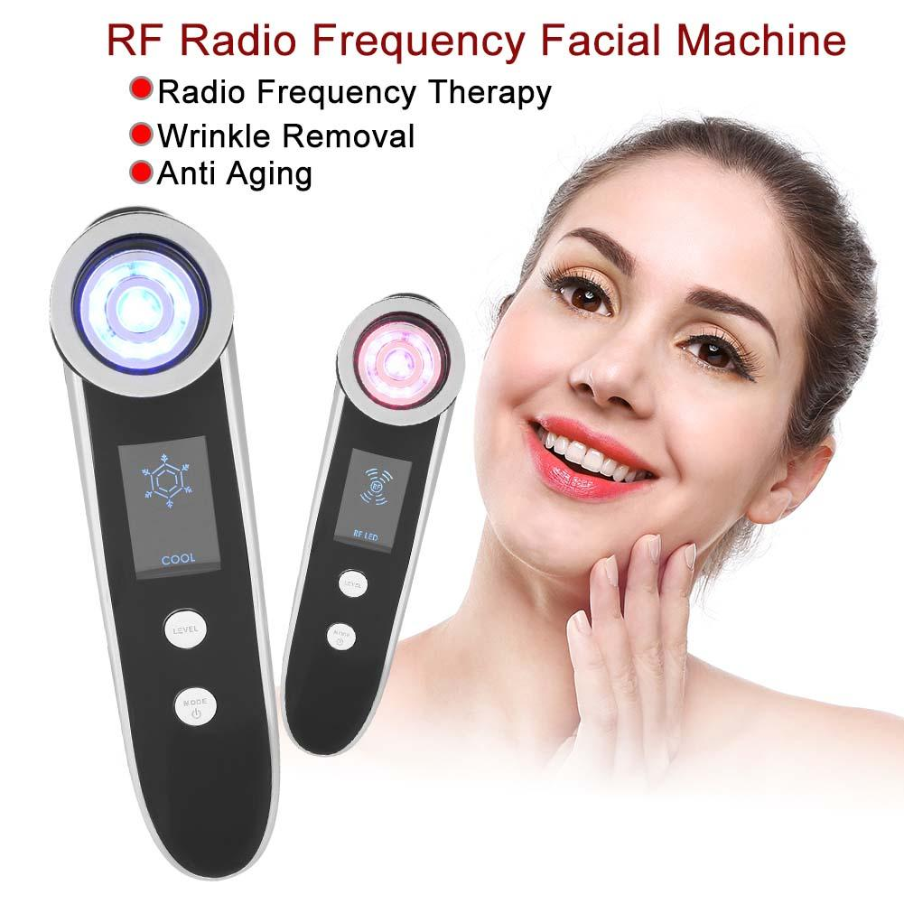 Hot & Cold Hammer RF Facial Machine EMS Ultrasonic Skin Rejuvenation Wrinkle Removal Anti Aging Therapy Cool Skin Lifting Device therapy ultrasonic rf facial machine fractional micro ance needle rf and galvanic facial lifting device