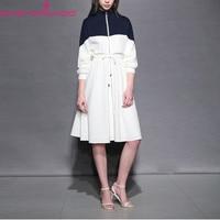 Long Sleeve Whte Blue Color Block Drawstring Dress Women Spring Casual Loose Sports Dress Female Work