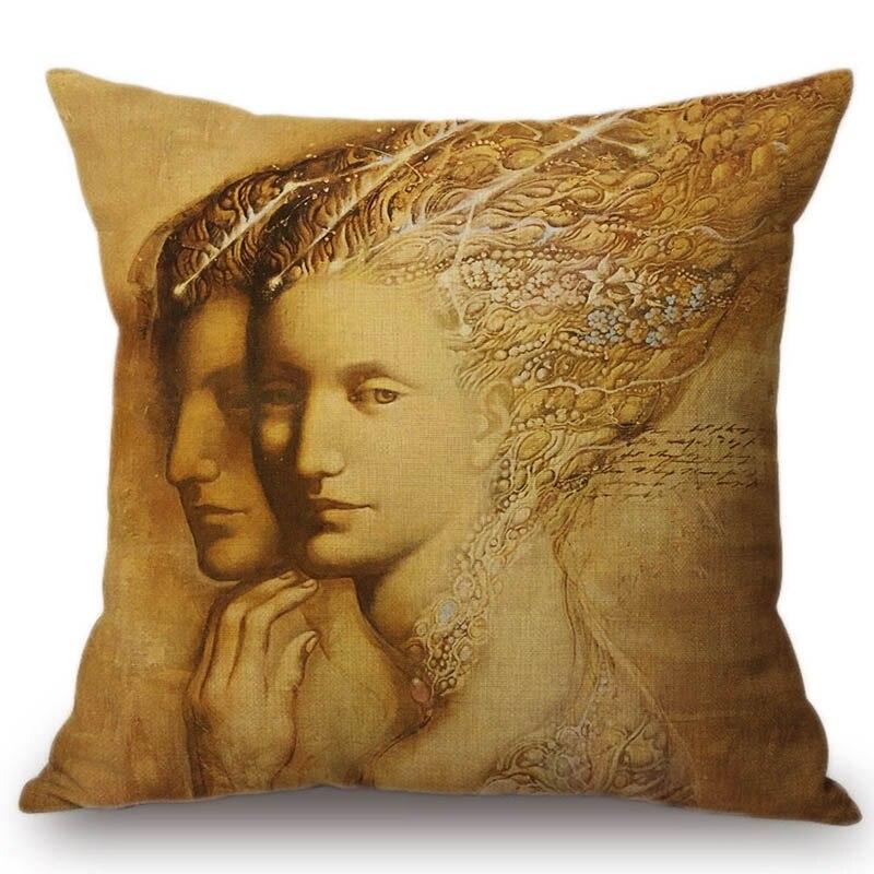Vintage Victorian era Lady Women Face Royal Style Home Decorative Sofa Throw Pillow Case Renaissance Oil Painting Cushion Cover