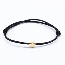 Простой браслет с подвесками, черный, красный цвет, минималистичный Регулируемый веревочный браслет на удачу, сердце, звезда, для женщин, влюбленных, ювелирное изделие из бисера